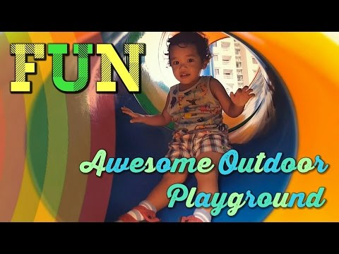 OUTDOOR KIDS PARK PLAYGROUND Fun Kids Playing with Slides, Swings, Monkey Bars & Play Area