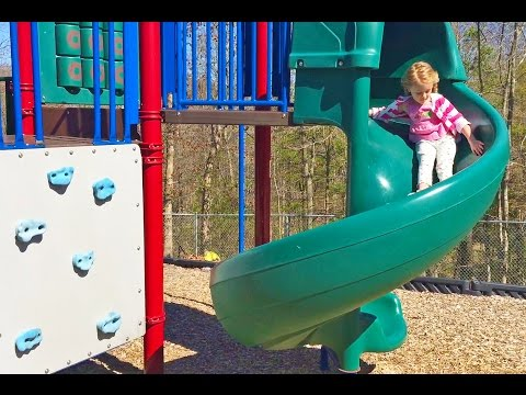 Playing with Barbie in the Park at the Playground on Slides, Swings, Monkey Bars Play Area for Kids