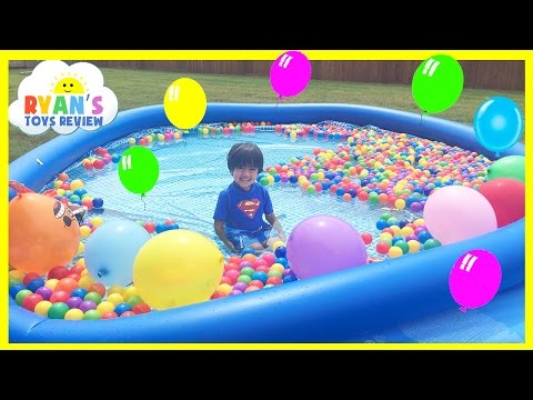 BALLOON POP SURPRISE TOYS CHALLENGE in giant ball pit