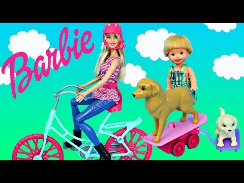 NEW Barbie Spin 'N Ride Pups Bicycle Riding Doll + Frozen Kids Playing at Playground Park with Dogs