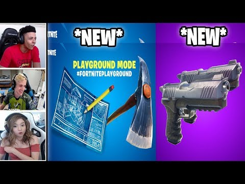 STREAMERS 1VS1 EACH OTHER IN PLAYGROUND & NEW DUAL PISTOLS WEAPON! (Fortnite Battle Royale)