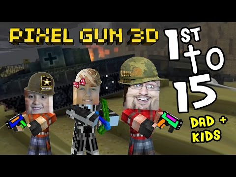 Lets Play Pixel Gun w/ Dad, Daughter & Son: Lex the Destroyer! 1st to 15 on D-Day Map (pt. 5)