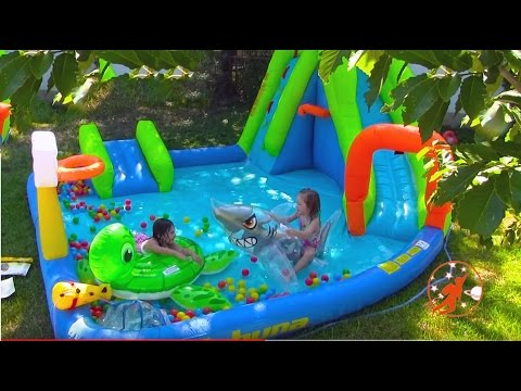 Giant Inflatable Water Slide & Shark Disney Princess Surprise w Warheads Sour Candy + Peppa Pig
