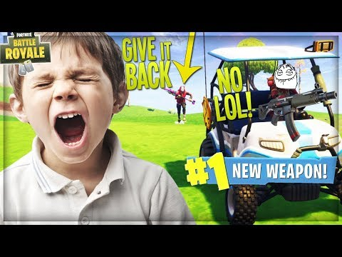 STEALING *NEW* SUBMACHINE GUN FROM ANGRY KID IN A GOLF CART ON FORTNITE (Funny Fortnite Trolling)