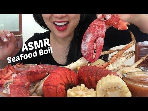 ASMR Seafood Boil - Lobster, crab, shrimp cocktail, corn and sausage  (EATING SOUNDS)   SAS-ASMR