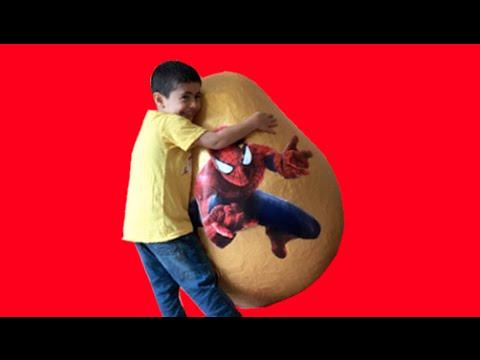 Super Giant Golden Surprise Egg - Spiderman Toys Opening + 3 Kinder Eggs Unboxing